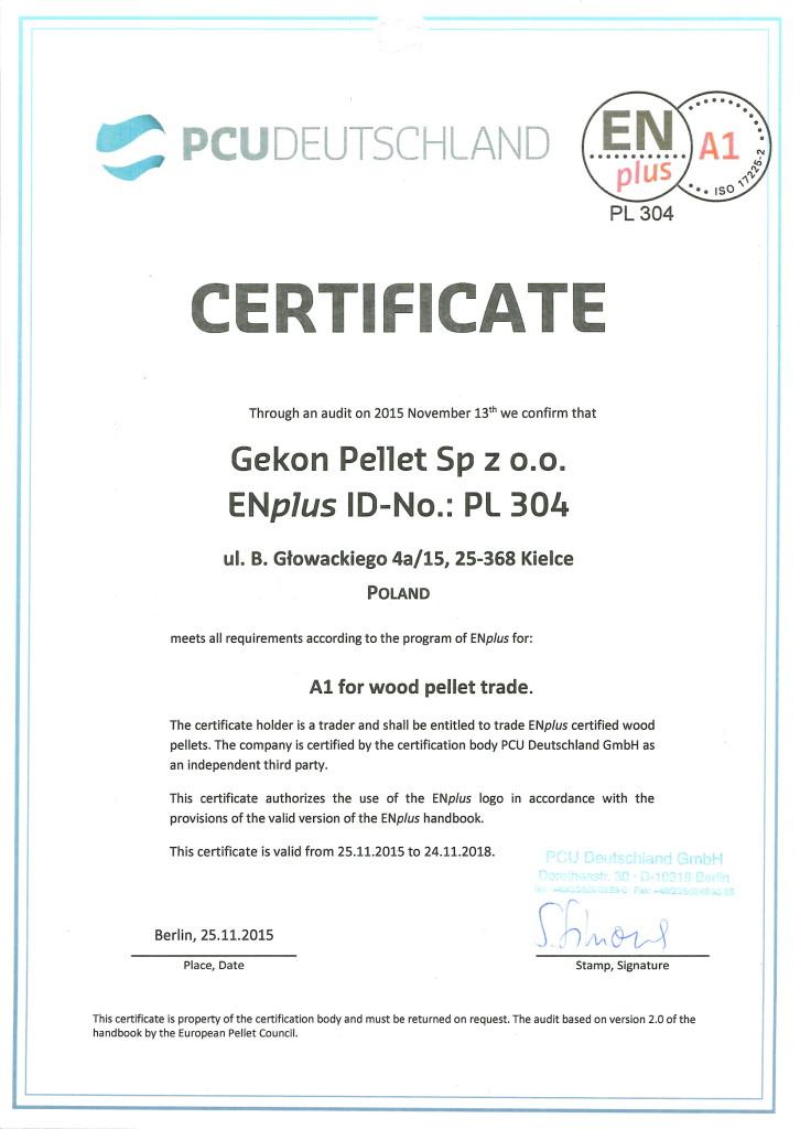 ENplus_CERTIFICATE_Gekon Pellets_2015